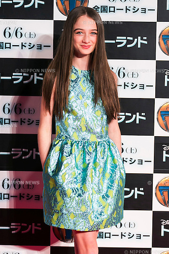 British child actress Raffey Cassidy poses for the cameras during the Japan premiere for the film ''Tomorrowland'' in Roppongi Hills Arena on May 25, 2015, Tokyo, Japan. George Clooney visited Japan for the first time in eight years with his wife Amal. The movie hits the theaters across Japan on June 6th. (Photo by Rodrigo Reyes Marin/Walt Disney Studio Japan/AFLO)
