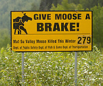 Number of moose killed on highway sign north of Anchorage.  Signs give number of moose killed for each burrough.  Bob Gathany photo.