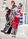 8 January 2016: Marina Gilardoni, competing for Switzerland, carries her sled off the track after completing her second run of the BMW IBSF World Cup Skeleton race with a combined 2-run time of 1:50.43, earning her the silver medal at the Olympic Sports Track in Lake Placid, New York, USA. Mandatory Credit: Ed Wolfstein Photo *** RAW (NEF) Image File Available ***