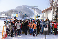 Cable car at theYongpyong (Dragon Valley) Ski Resort is a ski resort in South Korea, located in Daegwallyeong-myeon.  Pyeongchang. Yongpyong will host the technical alpine skiing events of slalom and giant slalom for the 2018 Winter Olympics and 2018 Winter Paralympics in Pyeongchang.