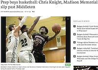 Middleton's Myron Ashford Jr. tries to shoot over the block of Memoria's Chris Knight (22) and Jake Ferguson during the second half of the Big Eight Conference boys basketball game between Middleton and Madison Memorial on Thursday at Memorial High School in Madison | Wisconsin State Journal article front page Sports 12/2/16 and on-line at http://host.madison.com/wsj/sports/high-school/basketball/boys/prep-boys-basketball-chris-knight-madison-memorial-slip-past-middleton/article_b894b30a-1cdd-519e-b61a-b0d097ffc139.html