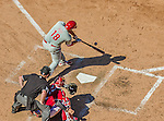 7 September 2014: Philadelphia Phillies outfielder Darin Ruf connects against the Washington Nationals at Nationals Park in Washington, DC. The Phillies fell to the Nationals 3-2 in their final meeting of the season. Mandatory Credit: Ed Wolfstein Photo *** RAW (NEF) Image File Available ***