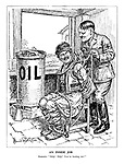 """An Inside Job. Roumania. """"Help! Help! You're hurting me!"""" (Hitler ties Romania to a chair while draining its oil into a jug)"""
