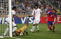 United Arab Emirates' goal keeper, Yousif Abdulrahman (1) blocks a goal attempt against Costa Rica during the FIFA Under 20 World Cup Quarter-final match at the Cairo International Stadium in Cairo, Egypt, on October 10, 2009. Costa Rica won the match 1-2 in overtime play.