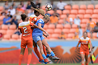 Houston, TX - Saturday April 15, 2017: Poliana, Bruna Benites, and Alyssa Mautz go up for a header during a regular season National Women's Soccer League (NWSL) match won by the Houston Dash 2-0 over the Chicago Red Stars at BBVA Compass Stadium.