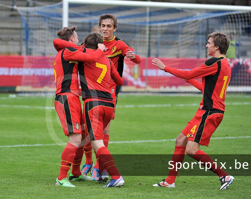 Belgium U19 - England U19 : Thomas Foket (7) celebrating his goal For Belgium 1-0.foto DAVID CATRY / Nikonpro.be