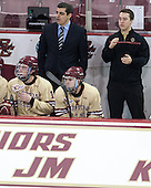 Ryan Fitzgerald (BC - 19), Marty McInnis (BC - Assistant Coach), Brendan Silk (BC - 9), Joe Macri (BC - Student Manager) - The visiting University of Notre Dame Fighting Irish defeated the Boston College Eagles 2-1 in overtime on Saturday, March 1, 2014, at Kelley Rink in Conte Forum in Chestnut Hill, Massachusetts.