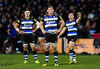 Stuart Hooper of Bath Rugby watches a replay on the big screen. Aviva Premiership match, between Bath Rugby and Newcastle Falcons on March 18, 2016 at the Recreation Ground in Bath, England. Photo by: Patrick Khachfe / Onside Images