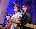 Mischief Theatre Company presents PETER PAN GOES WRONG, at the Apollo Theatre. Co-written by Henry Lewis, Jonathan Sayer & Henry Shields, directed by Adam Meggido. Picture shows: Ellie Morris (Tootles), Charlie Russell (Wendy Darling), Tom Edden (Cecco the Pirate)