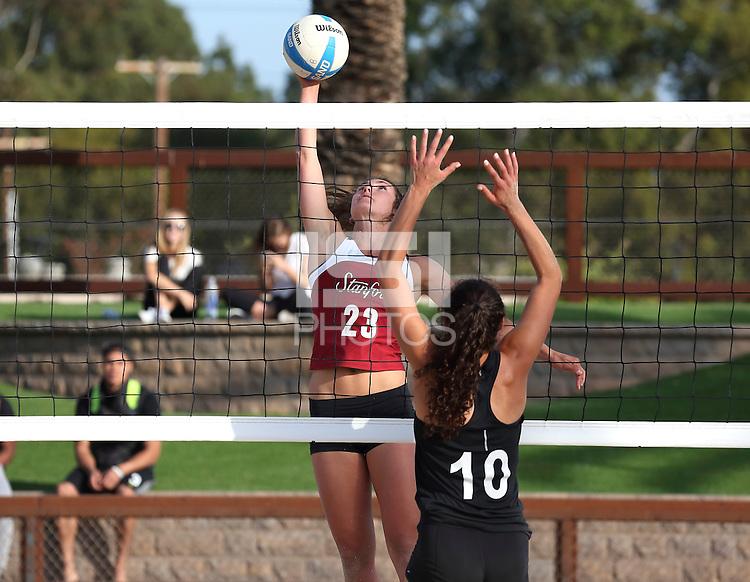 Stanford, CA; Thursday April 23, 2015; Sand Volleyball, Stanford vs Santa Clara.