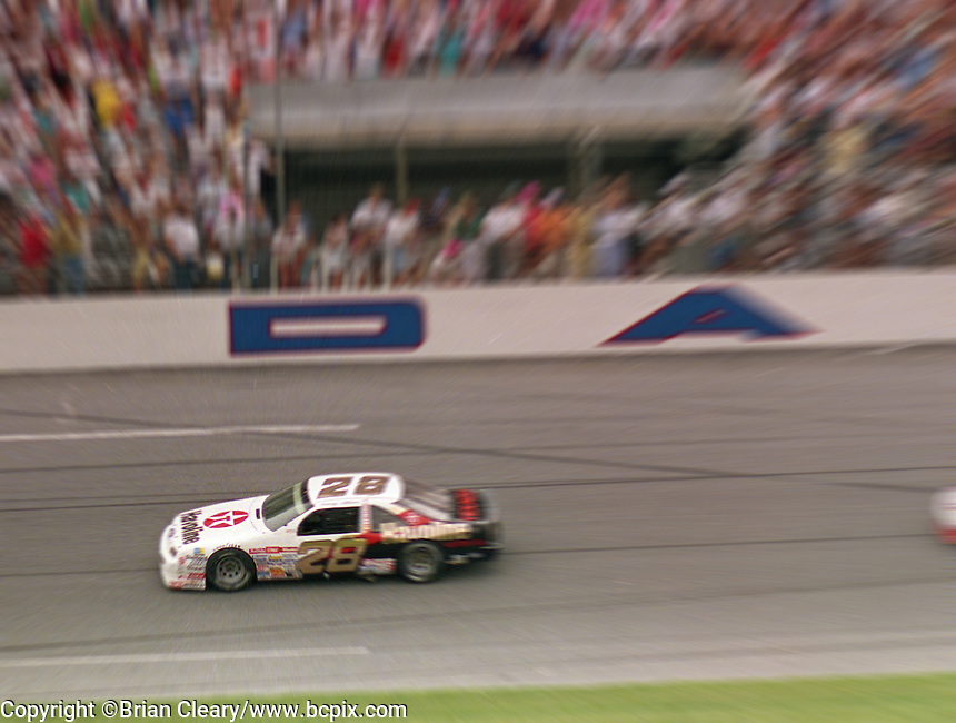 Davey Allison 1st place winner Ford Thunderbird action zoom speed blur Pepsi 400 at Daytona International Speedway in Daytona beach, FL on July 1, 1989. (Photo by Brian Cleary/www.bcpix.com)