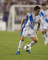 Puebla FC midfielder Jose Gonzalez (7) controls the ball. The New England Revolution defeated Puebla FC in penalty kicks, in SuperLiga 2010 semifinal at Gillette Stadium on August 4, 2010.