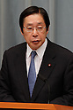 September 2, 2011, Tokyo, Japan - Michihiko Kano, minister of Agriculture, Forestry and Fisheries, fields questions from reports during a news conference at Kantei, prime ministers official residence, in Tokyo following an attestation ceremony before Emperor Akihito at the Imperial Palace in Tokyo on Friday, September 2, 2011. (Photo by AFLO) [3609] -mis-