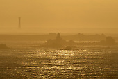 Bishop Rock Lighthouse and the western isles from St Agnes, Isles of Scilly, UK