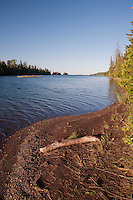 A beach at Duncan Narrows campsite at Isle Royale National Park in Michigan USA.