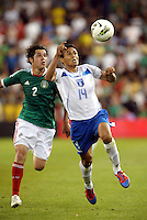 Andy Najar(14) Honduras  gets ahead of Mexico defender Israel Jimenez (2)... Mexico defeated Honduras 2-1 after extra time to win the CONCACAF Olympic qualifying trophy at LIVESTRONG Sporting Park, Kansas City, Kansas.