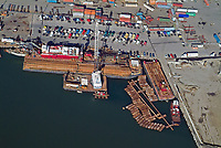 aerial photograph loading barge Port of Oakland, California