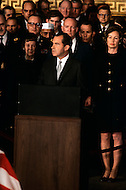 Washington National Cathedral - March 31, 1969. United States President Richard Nixon delivering a eulogy for former President Dwight Eisenhower during funeral service at the National Cathedral. He (October 14, 1890 - March 28, 1969) was the 34th President of the United States from 1953 until 1961, was a five-star general in the United States Army during World War II and was the first supreme commander of NATO.