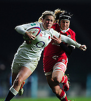 Danielle Waterman of England takes on the Canada defence. Old Mutual Wealth Series International match between England Women and Canada Women on November 26, 2016 at Twickenham Stadium in London, England. Photo by: Patrick Khachfe / Onside Images