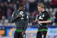 FUSSBALL   1. BUNDESLIGA   SAISON 2012/2013  5. SPIELTAG  26.09.2012 SC Freiburg - SV Werder Bremen Joseph Akpala (SV Werder Bremen) und Kevin De Bruyne (re, SV Werder Bremen)