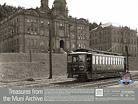 A United Railroads Operator drives the Golden Gate Sight Seeing Car past the University of California Medical Center Teaching Hospital on Parsnassus Ave | April 17, 1908