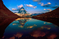 The Matterhorn, with the Riffelsee (a small lake) in the foreground near Zermatt, Switzerland