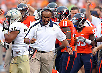 Sept. 3, 2011 - Charlottesville, Virginia - USA; Virginia Cavaliers head coach Mike London reacts during an NCAA football game against William & Mary at Scott Stadium. Virginia won 40-3. (Credit Image: © Andrew Shurtleff