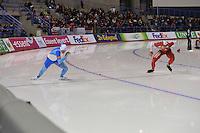 SCHAATSEN: CALGARY: Olympic Oval, 08-11-2013, Essent ISU World Cup, 500m, Mika Poutala (FIN), Artur Was (POL), ©foto Martin de Jong