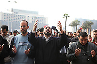 Protesters praying at Cairo's main Tahrir (Liberation) Square. .