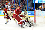 07 APR 2012:  Goalie Parker Milner (35) of Boston College makes a save against Garrett Thompson (16) of Ferris State University during the Division I Men's Ice Hockey Championship held at the Tampa Bay Times Forum in Tampa, FL.  Boston College defeated Ferris State 4-1 to win the national title.  Matt Marriott/NCAA Photos