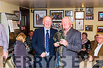 Tom McKenna Chairman of the West Limerick Singing Club presenting Pat Sullivan from Scartaglin  2nd. prize in the &quot;Newly Composed Ballad&quot; competition which was held last Saturday afternoon in The Ramble Inn .<br /> (Sean O' Muimhnealh&aacute;in from Macroom won 1st. Prize)