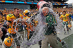 07 JAN 2012:  Head coach Craig Bohl of North Dakota State University gets drenched with a water cooler after North Dakota State beat Sam Houston State 17-6 during the Division I Men's FCS Football Championship held at Pizza Hut Park in Frisco, TX.  Tom Pennington/ NCAA Photos
