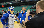 The Duke Blue Devil is interviewed after the game by GoDuke.com's Michael Tomko (center) and Chad Lampman (right). (Photo by Rob Rowe)