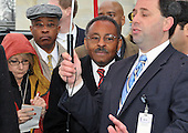 Washington, DC - January 6, 2009 -- United States Senator-designate Roland Burris (Democrat of Illinois) departs the United States Capitol in Washington, DC on Tuesday, January 6, 2009 after the Secretary of the Senate turned him away from being seated..Credit: Ron Sachs / CNP.(RESTRICTION: NO New York or New Jersey Newspapers or newspapers within a 75 mile radius of New York City)