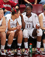 STANFORD, CA - January 25, 2013: Stanford Cardinal's Joslyn Tinkle and Chiney Ogwumike during Stanford's 65-44 victory over the Utah at Maples Pavilion in Stanford, California.
