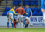 St Johnstone v Partick Thistle....17.01.15  SPFL<br /> Alan Mannus pats Brian Easton after he blocked Nathan Eccleston's shot<br /> Picture by Graeme Hart.<br /> Copyright Perthshire Picture Agency<br /> Tel: 01738 623350  Mobile: 07990 594431