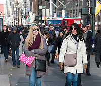 Crowds of shoppers on Fifth Avenue in Midtown Manhattan in New York on Friday, December 9, 2016. Only sixteen more days until Christmas.  (© Richard B. Levine)