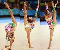 August 22, 2008; Beijing, China; (L-R sequence) Rhythmic gymnast Liubov Charkashina of Belarus performs with clubs on way to placing 15th in qualifying round at 2008 Beijing Olympics..(©) Copyright 2008 Tom Theobald