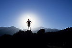 Backlit hiker and Pike's Peak, Colorado Springs, Colorado