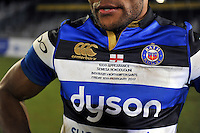 A general view of a Semesa Rokoduguni's commemorative Bath Rugby jersey on the occasion of his 100th appearance for the club. Aviva Premiership match, between Bath Rugby and Northampton Saints on February 10, 2017 at the Recreation Ground in Bath, England. Photo by: Patrick Khachfe / Onside Images