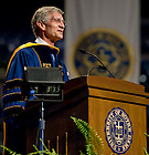 Aug. 23, 2011; Thomas Burish, provost of the University of Notre Dame, speaks at the 2011 opening Mass in the Purcell Pavilion...Photo by Matt Cashore/University of Notre Dame