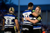 Matt Banahan of Bath Rugby is congratulated on his try by team-mate Rory Jennings. West Country Challenge Cup match, between Bath Rugby and Exeter Chiefs on October 10, 2015 at the Recreation Ground in Bath, England. Photo by: Patrick Khachfe / Onside Images