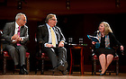 Sept. 4, 2012; Moderator M. Cathleen Kaveny poses a question to panelists, Rabbi David Saperstein and Pastor Rick Warren, right, during the kick-off event for the 2012-13 Notre Dame Forum: Conviction vs. Compromise: Being a Person of Faith in a Liberal Democracy at the DeBartolo Performing Arts Center. Photo by Barbara Johnston/University of Notre Dame