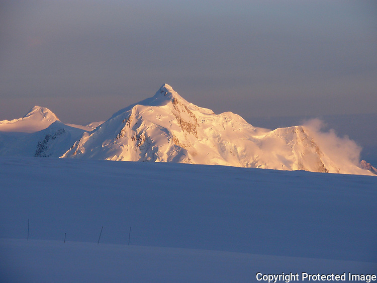 Mount Hunter from Denali's 14,200-foot camp, Alaska Range.