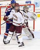 Parker Milner (BC - 35), Riley Wetmore (UML - 16), Michael Matheson (BC - 5) - The Boston College Eagles defeated the visiting University of Massachusetts Lowell River Hawks 6-3 on Sunday, October 28, 2012, at Kelley Rink in Conte Forum in Chestnut Hill, Massachusetts.