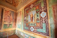 "Room of The Nobility (Stanza della Nobilta). The Renaissance paintings by Federico Zuccari can be dated to 1566-67. Decorated with Trompe-l'?il Ionian Pillars & busts the figures in the panels depict ""Virtue"" and ""Thee Liberal Arts"". Villa d'Este, Tivoli, Italy. A UNESCO World Heritage Site."