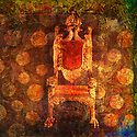 Empty throne with pattern of dots. Photo based illustration.