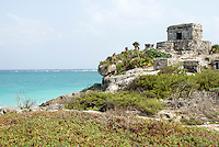 Temple of the Wind God at the ancient Mayan ruins of Tulum on the Riviera Maya, Quintana Roo, Mexico