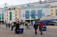 The words 'Home of The Champions' already displayed on the main entrance to Chelsea FC during Chelsea vs Watford, Premier League Football at Stamford Bridge on 15th May 2017