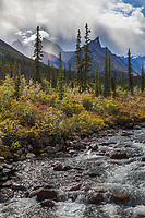 Arrigetch creek, Elephants tooth and Parabala mountain in the distance, Arrigetch Peaks, Gates of the Arctic National park, Alaska.